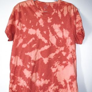 Upcycled T Shirt Red Bleach Dyed
